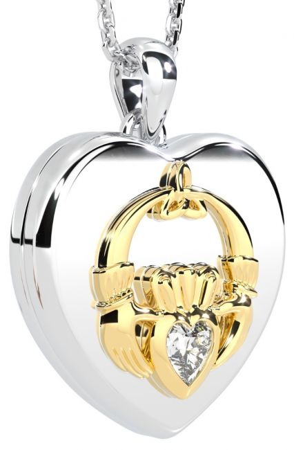 14K Two Tone Gold Diamond Solid Silver