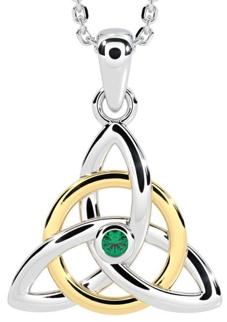 14K Two Tone Gold Solid Silver Genuine Emerald .03ct Irish