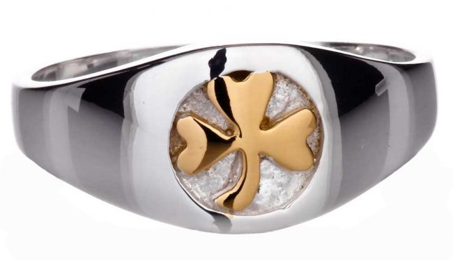 Mens 14K Two Tone Gold Irish