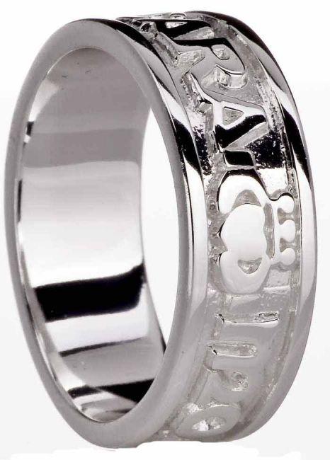14K White Gold Soul Mate Celtic Claddagh Ring
