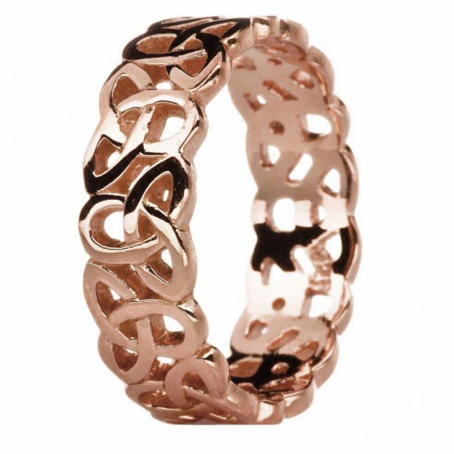 Ladies 14K Rose Gold Silver Celtic Knot Band Ring