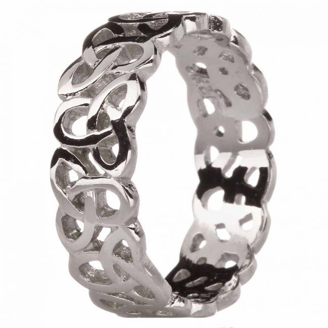 Ladies 14K White Gold Silver Celtic Knot Ring
