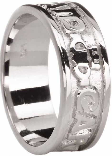 Mens Silver My Soul Mate Celtic Claddagh Ring