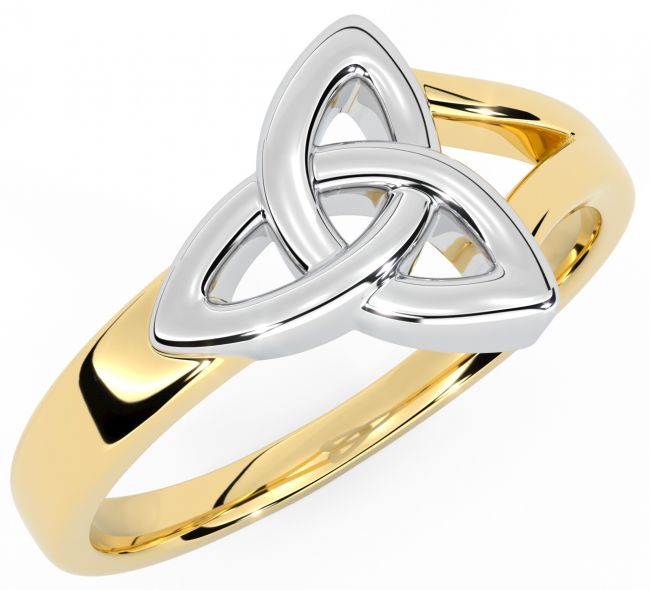 Ladies 14K Yellow & White Gold Silver Celtic Knot Ring