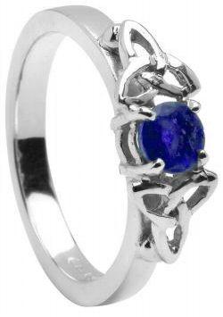 Sapphire 10K/14K18K White Gold Celtic Engagement Ring