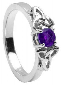 10K/14K18K White Gold Genuine Amethyst Celtic Engagement Ring