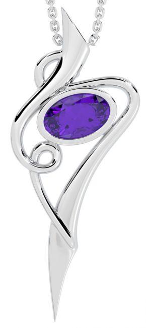 Silver Amethyst Celtic Pendant Necklace