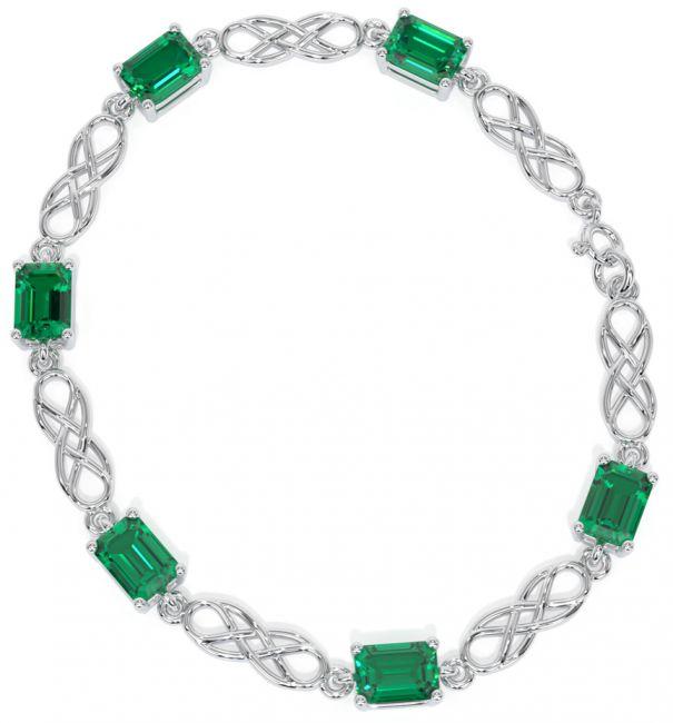 Silver Celtic Emerald Bracelet