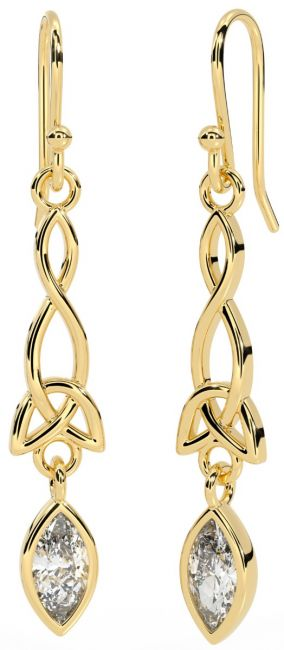 14K Gold Solid Silver Diamond Celtic Dangle Earrings