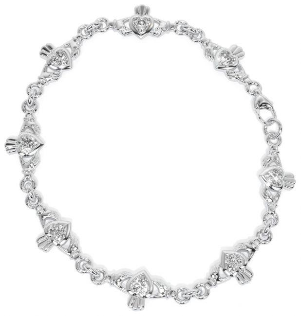 Silver Irish Claddagh Diamond Heart Bracelet