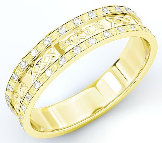 10K/14K/18K Gold Genuine Diamond .5cts Claddagh Celtic Mens Wedding Band Ring