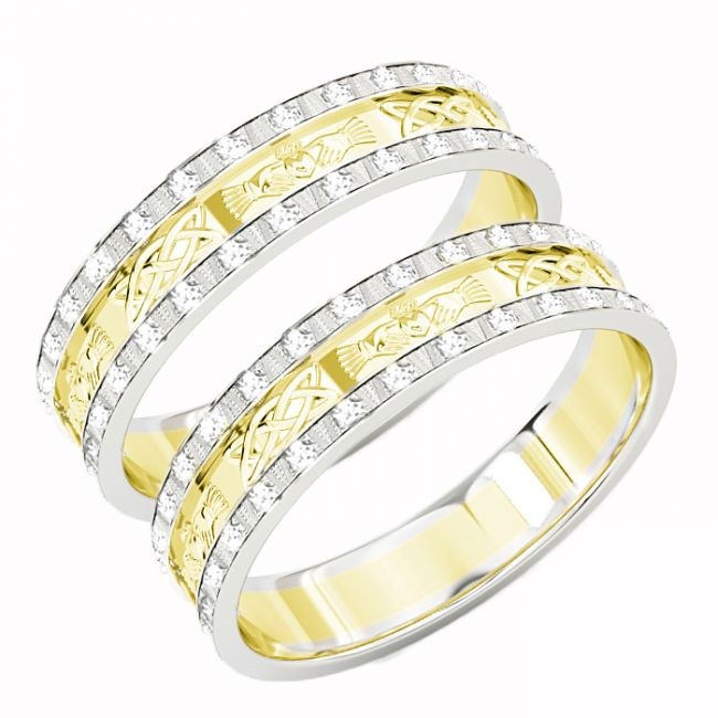 10K/14K/18K Two Tone Gold White & Yellow Genuine Diamond .5cts Claddagh Celtic Wedding Band Ring Set
