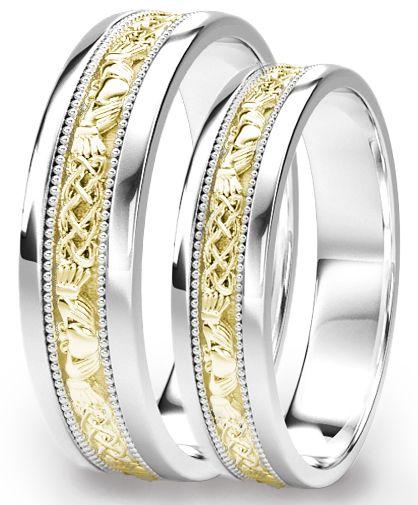 White & Yellow Gold Claddagh Celtic Wedding Band Ring Set