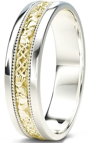 10K/14K/18K White and Yellow Gold Claddagh Celtic Mens Wedding Band Ring