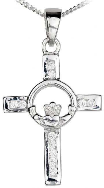 Diamond Silver Claddagh Celtic Cross Pendant Necklace