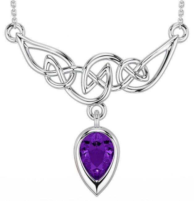 Silver Amythest Celtic Necklace
