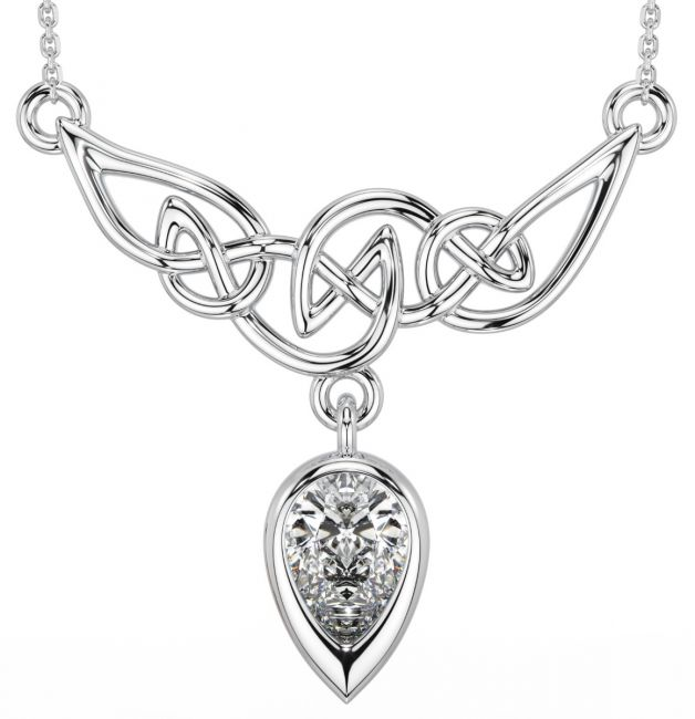 Diamond Silver Celtic Necklace