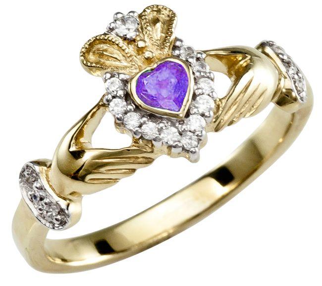 June Birthstone 10K/14K/18K Yellow Gold Claddagh Ring