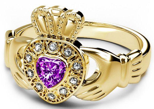 10K/14K/18K Gold Genuine Diamond .13cts Alexandrite .25cts Claddagh Engagement Ring - June Birthstone