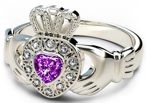 10K/14K/18K White Gold Genuine Diamond .13cts Alexandrite .25cts Claddagh Engagement Ring - June Birthstone