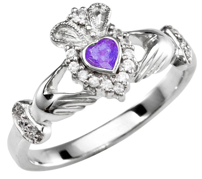 June Birthstone Silver Claddagh Ring