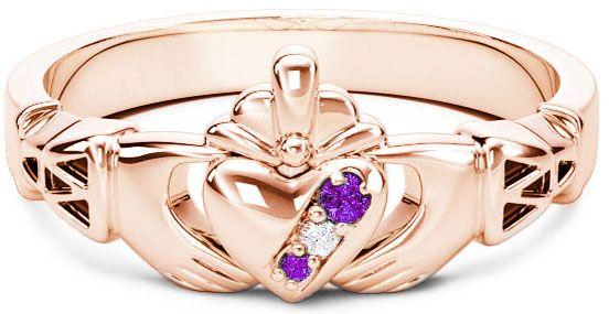10K/14K/18K Rose Gold Genuine Amethyst.035cts Genuine Diamond .1cts Claddagh Celtic Knot Ring - February Birthstone