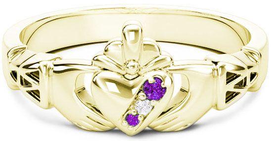 10K/14K/18K Gold Genuine Amethyst.035cts Genuine Diamond .1cts Claddagh Celtic Knot Ring - February Birthstone