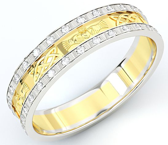 10K/14K/18K Two Tone Gold White & Yellow Genuine Diamond .5cts Claddagh Celtic Mens Wedding Band Ring