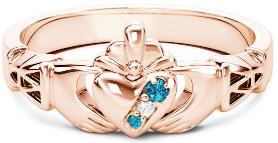 10K/14K/18K Rose Gold Genuine Aquamarine.035cts Genuine Diamond .1cts Claddagh Celtic Knot Ring - March Birthstone
