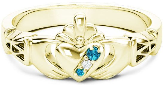 10K/14K/18K Gold Genuine Aquamarine.035cts Genuine Diamond .1cts Claddagh Celtic Knot Ring - March Birthstone