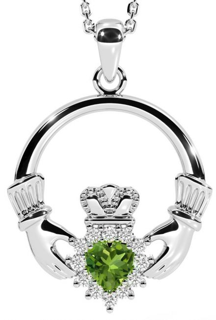 Peridot Diamond Silver Claddagh Pendant Necklace - August Birthstone