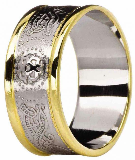 Mens 10K/14K/18K Two Tone Gold Celtic