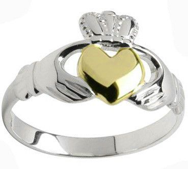 Ladies 10K/14K/18K two tone White Gold & Yellow Gold Heart Claddagh Ring