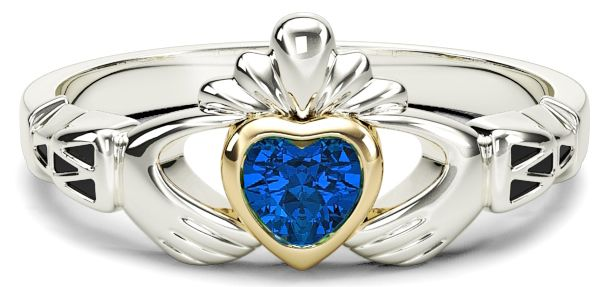 Ladies Sapphire Silver Gold Claddagh Ring