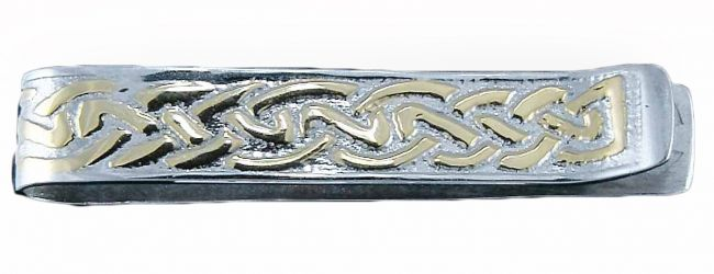 14K Two Tone Gold Solid Silver Celtic Money / Tie Clip
