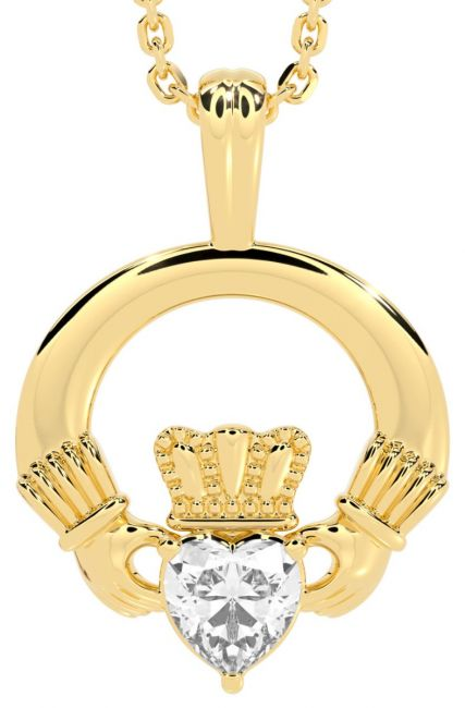 Gold Diamond Irish Claddagh Pendant Necklace - April Birthstone