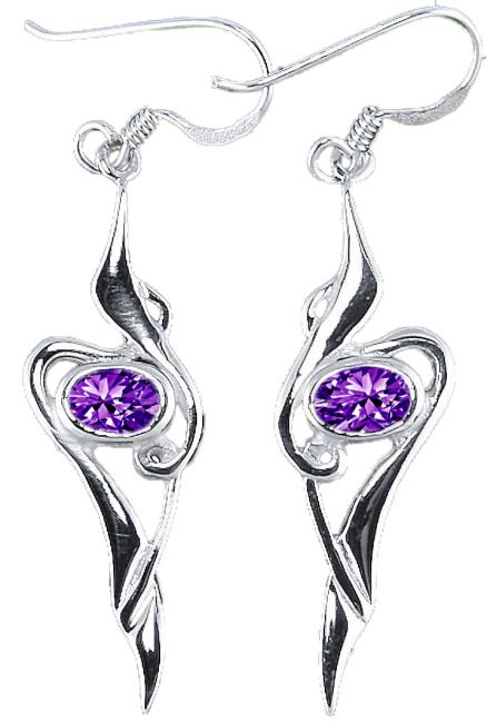 Amethyst Silver Celtic Earrings