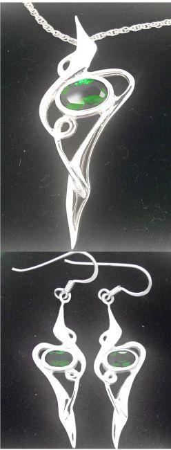 Silver Emerald Celtic Earrings + Pendant Set