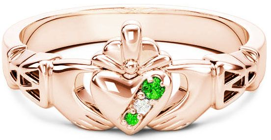 Rose Gold Natural Emerald .035cts Natural Diamond .01cts Claddagh Celtic Knot Ring - May Birthstone