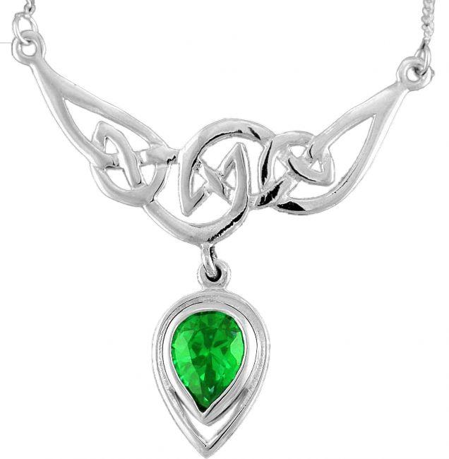 Emerald 14K White Gold Solid Silver Celtic Earrings