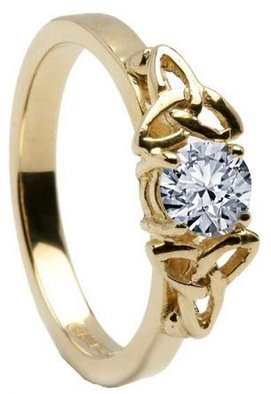 10K/14K18K Yellow Gold Genuine Diamond Engagement Ring