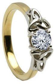 10K/14K18K Two Tone Yellow & White Gold Genuine Diamond Engagement Ring