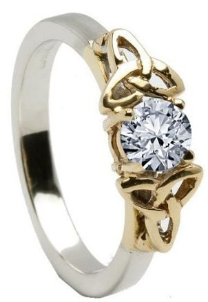 10K/14K18K White & Yellow Gold Genuine Diamond Engagement Ring