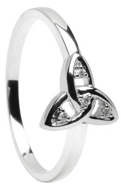 10K/14K/18K White Gold Diamond Engagement Celtic Knot Ring
