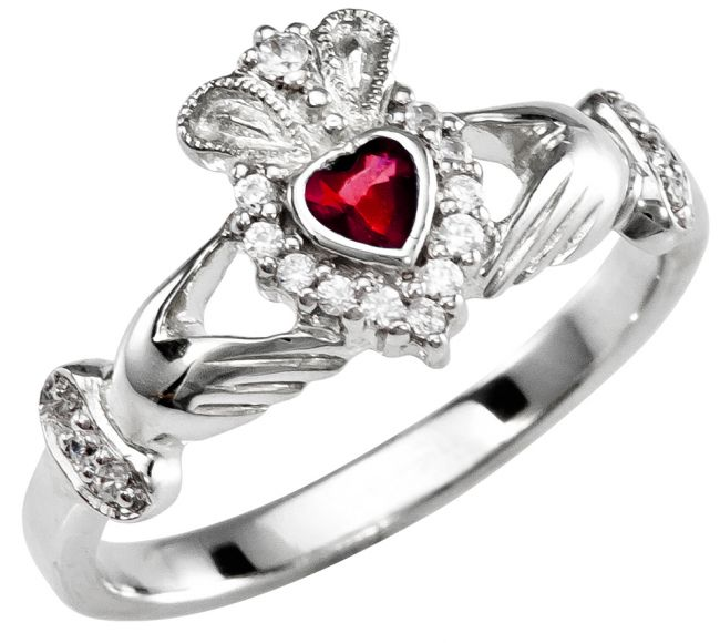 January Birthstone 10K/14K/18K Solid White Gold Claddagh Ring