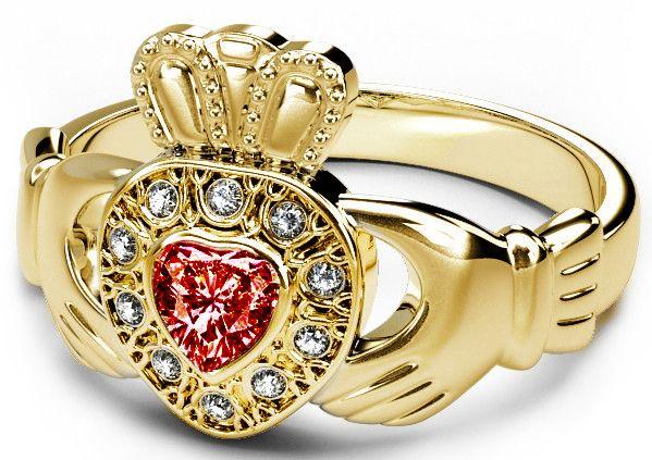 10K/14K/18K Gold Genuine Diamond .13cts Red Garnet .25cts Claddagh Engagement Ring - January Birthstone