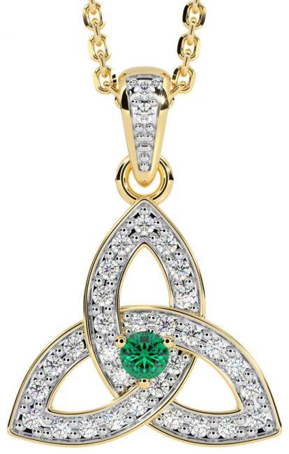 White & Yellow Gold Genuine Diamond .15cts Genuine Emerald .10cts