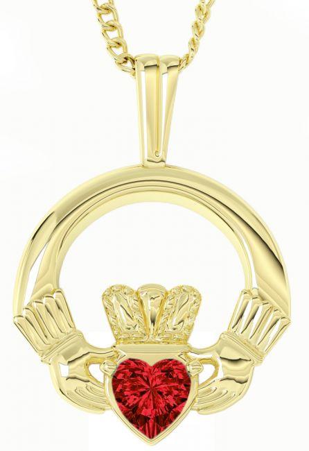 Gold Diamond Irish Claddagh Pendant Necklace