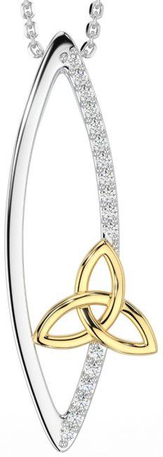 14K Gold Silver Diamond Celtic Pendant Necklace