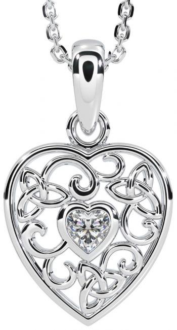 Diamond Silver Celtic Knot Heart Pendant Necklace